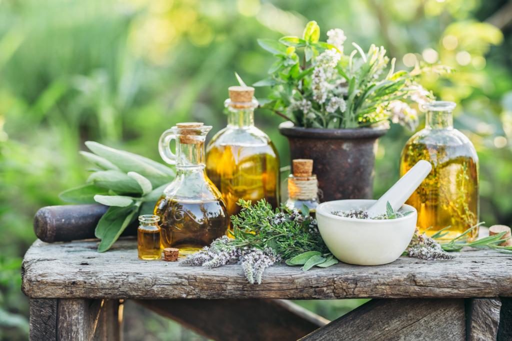 frische Kräuter und Öle aus dem Garten